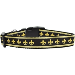 Mirage Pet Products Black and Gold Fleur de Lis Nylon Dog Collars Large