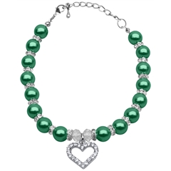 Mirage Pet Products Heart and Pearl Necklace Emerald Green Sm (6-8)