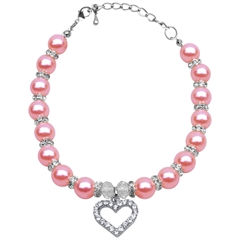 Mirage Pet Products Heart and Pearl Necklace Rose Md (8-10)