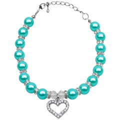 Mirage Pet Products Heart and Pearl Necklace Aqua Lg (10-12)