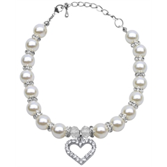 Mirage Pet Products Heart and Pearl Necklace White Lg (10-12)