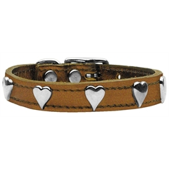 Mirage Pet Products Metallic Heart Leather Bronze 16