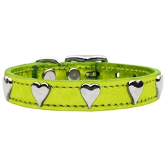 Mirage Pet Products Metallic Heart Leather Lime Green MTL 10