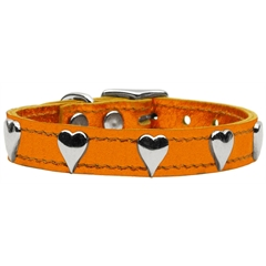 Mirage Pet Products Metallic Heart Leather Metallic Orange 16