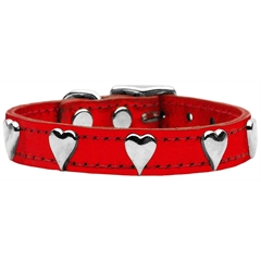 Mirage Pet Products Metallic Heart Leather Red MTL 10