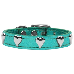 Mirage Pet Products Metallic Heart Leather Turquoise Metallic 16