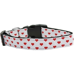 Mirage Pet Products White and Red Dotty Hearts Nylon Dog Collars Large