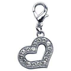 Mirage Pet Products Lobster Claw Heart Charm  Clear