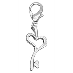 Mirage Pet Products Chrome Lobster Claw Charm Heart Key