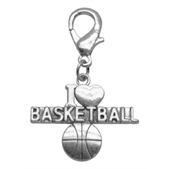 Mirage Pet Products Chrome Lobster Claw Charm I Heart Basketball