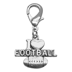 Mirage Pet Products Chrome Lobster Claw Charm I Heart Football