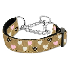 Mirage Pet Products Argyle Hearts Nylon Ribbon Collar Martingale Tan Large