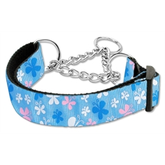 Mirage Pet Products Butterfly Nylon Ribbon Collar Martingale Blue Large