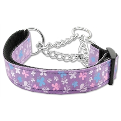 Mirage Pet Products Butterfly Nylon Ribbon Collar Martingale Lavender Large