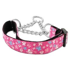Mirage Pet Products Butterfly Nylon Ribbon Collar Martingale Pink Medium