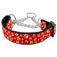 Mirage Pet Products Butterfly Nylon Ribbon Collar Martingale Red Medium
