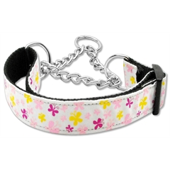 Mirage Pet Products Butterfly Nylon Ribbon Collar Martingale White Large