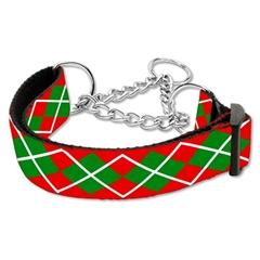 Mirage Pet Products Christmas Argyle Nylon Ribbon Collar Martingale Medium