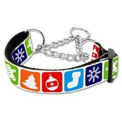 Mirage Pet Products Classic Christmas Nylon Ribbon Collar Martingale Medium