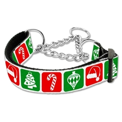 Mirage Pet Products Timeless Christmas Nylon Ribbon Collar Martingale Large