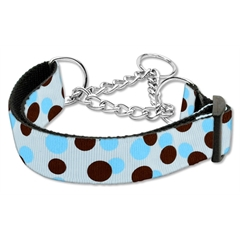 Mirage Pet Products Confetti Dots Nylon Collar Martingale Baby Blue Medium