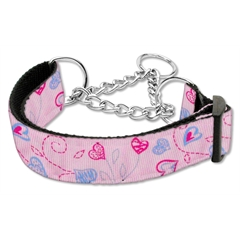 Mirage Pet Products Crazy Hearts Nylon Collars Martingale Light Pink Large
