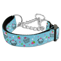 Mirage Pet Products Cupcakes Nylon Ribbon Collar Martingale Large Baby Blue
