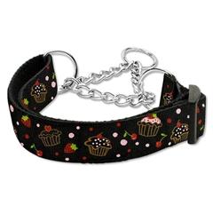 Mirage Pet Products Cupcakes Nylon Ribbon Collar Martingale Medium Black