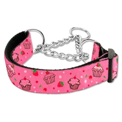 Mirage Pet Products Cupcakes Nylon Ribbon Collar Martingale Large Bright Pink