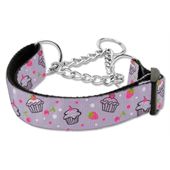 Mirage Pet Products Cupcakes Nylon Ribbon Collar Martingale Large Purple
