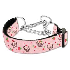 Mirage Pet Products Cupcakes Nylon Ribbon Collar Martingale Medium Light Pink