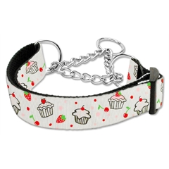 Mirage Pet Products Cupcakes Nylon Ribbon Collar Martingale Medium White