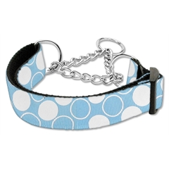 Mirage Pet Products Diagonal Dots Nylon Collar Martingale Baby Blue Large