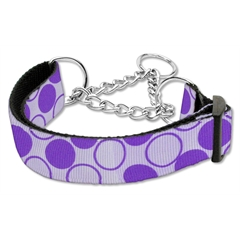 Mirage Pet Products Diagonal Dots Nylon Collar Martingale Lavender Medium