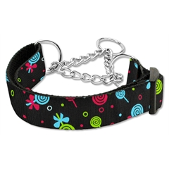 Mirage Pet Products Lollipops Nylon Ribbon Collar Martingale Large Black