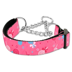 Mirage Pet Products Lollipops Nylon Ribbon Collar Martingale Large Bright Pink