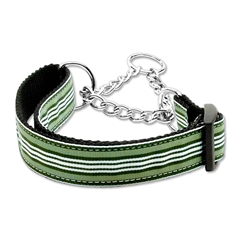 Mirage Pet Products Preppy Stripes Nylon Ribbon Collars Martingale Green/White Large