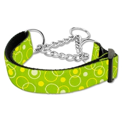 Mirage Pet Products Retro Nylon Ribbon Collar Martingale Lime Green Large