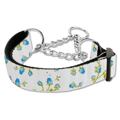 Mirage Pet Products Roses Nylon Ribbon Collar Martingale Medium Blue
