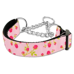 Mirage Pet Products Roses Nylon Ribbon Collar Martingale Large Light Pink
