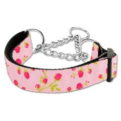 Mirage Pet Products Roses Nylon Ribbon Collar Martingale Medium Light Pink