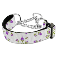 Mirage Pet Products Roses Nylon Ribbon Collar Martingale Large Purple