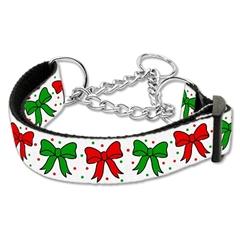 Mirage Pet Products Christmas Bows Nylon Ribbon Collar Martingale Large