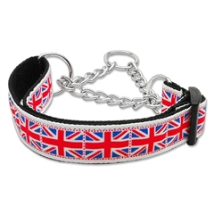 Mirage Pet Products Tiled Union Jack(UK Flag) Nylon Ribbon Collar Martingale Large