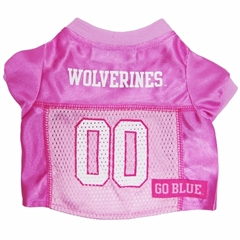 Mirage Pet Products Michigan Wolverines Pink Jersey XS