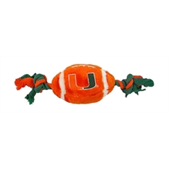 Mirage Pet Products Miami Hurricanes Plush Football Toy