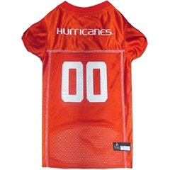Mirage Pet Products Miami Hurricanes Jersey Large