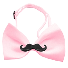 Mirage Pet Products Black Moustache Light Pink Bow Tie