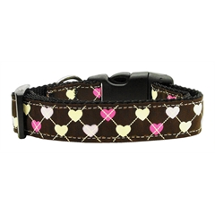 Mirage Pet Products Argyle Hearts Nylon Ribbon Collar Brown Large