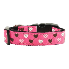 Mirage Pet Products Argyle Hearts Nylon Ribbon Collar Bright Pink Medium